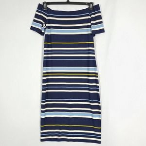 DKNY Striped Off Shoulder Navy Midi Dress Size S